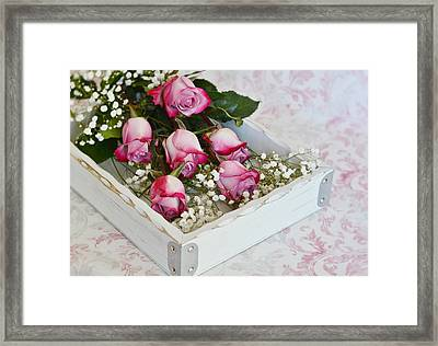 Pink And White Roses In White Box Framed Print by Diane Alexander