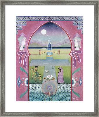 Pink Arch With Figures Framed Print by Sally Appleby