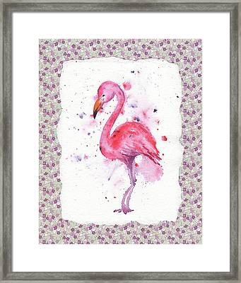 Framed Print featuring the painting Pink Baby Flamingo Watercolor by Irina Sztukowski