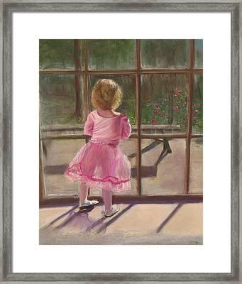 Pink Ballerina Framed Print by Kathy Wood