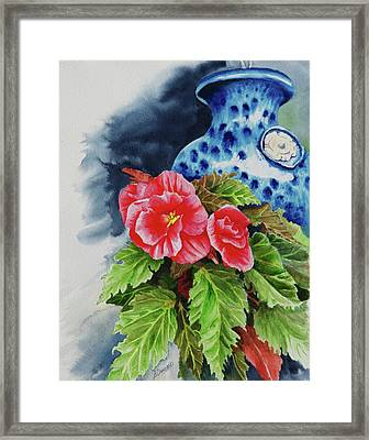 Pink Begonias Framed Print by Lori Seward