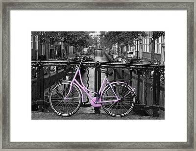Pink Bicycle By The Canal Framed Print