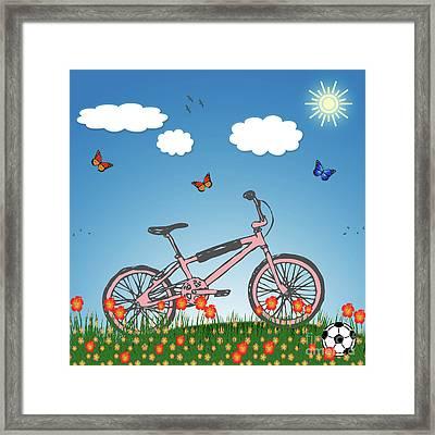 Pink Bicycle Framed Print by Gaspar Avila
