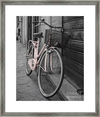 Pink Bicycle In Rome Framed Print by Edward Fielding
