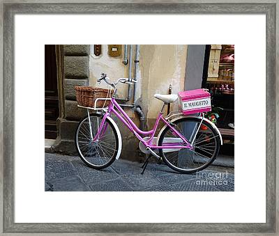 Pink Bicycle Framed Print