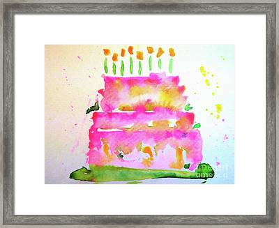 Framed Print featuring the painting Pink Birthday Cake by Claire Bull
