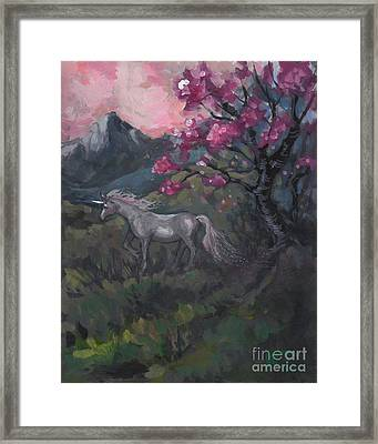 Cherry Blossom Unicorn Framed Print
