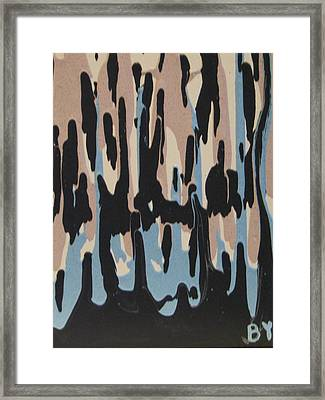 Pink Blue And Brown Drips Framed Print