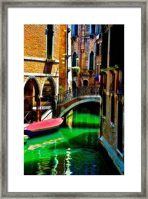 Pink Boat And Canal Framed Print