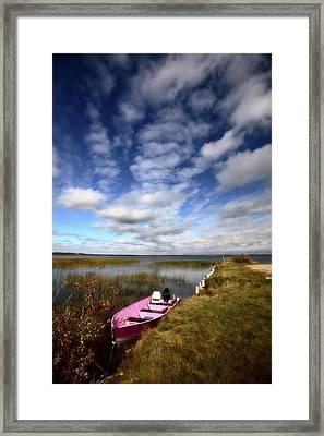 Pink Boat In Scenic Saskatchewan Framed Print