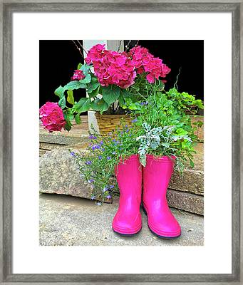 Pink Boots Framed Print