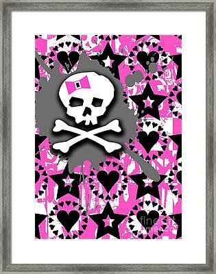 Pink Bow Skull Framed Print by Roseanne Jones