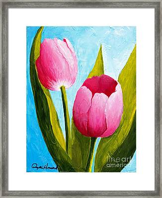 Framed Print featuring the painting Pink Bubblegum Tulip II by Phyllis Howard