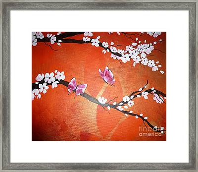 Pink Butterflies And Cherry Blossom Framed Print