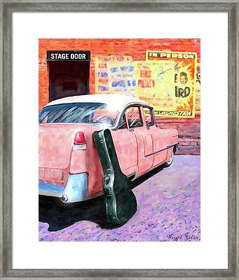 Framed Print featuring the digital art Pink Cadillac At The Stage Door by Mark Tisdale