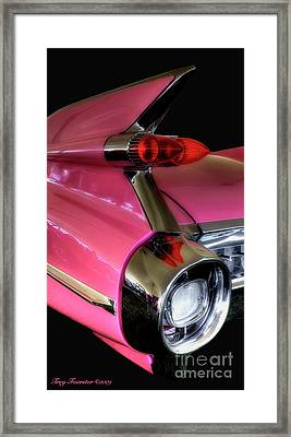 Framed Print featuring the photograph Pink Cadillac Blackout by Trey Foerster