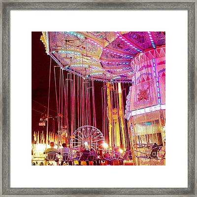 Pink Carnival Festival Ferris Wheel Night Ride - Carnival Rides - Night Light Carnival Art Framed Print by Kathy Fornal