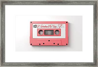 Pink Cassette Mix Tape Framed Print