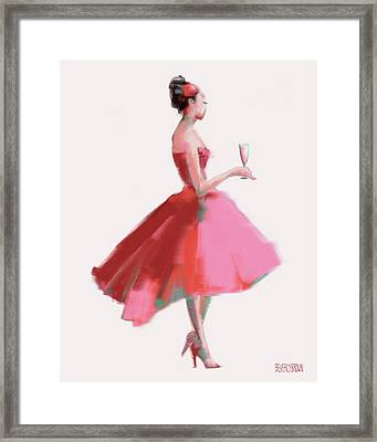 Pink Champagne Fashion Art Framed Print by Beverly Brown