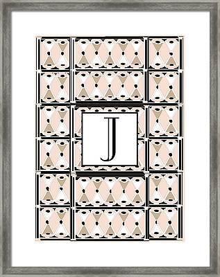 Pink Champagne Deco Monogram  J Framed Print by Cecely Bloom