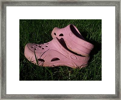 Pink Clogs Framed Print by Emily Kelley