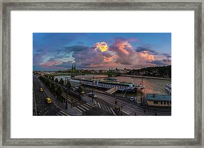 Pink Clouds Above The Danube, Budapest Framed Print