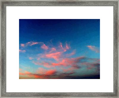 Framed Print featuring the digital art Pink Clouds Abstract by Shelli Fitzpatrick