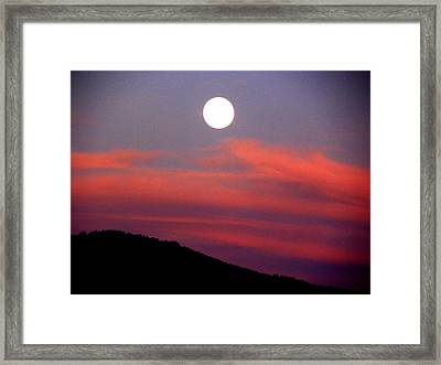Pink Clouds With Moon Framed Print by Joseph Frank Baraba
