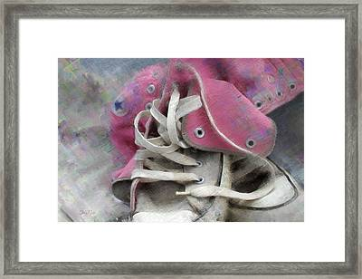 Pink Converse High Tops Framed Print