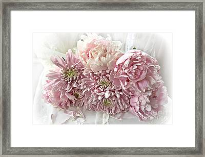 Pink Cottage Chic Romantic Carnations Peonies Bouquet - Romantic Pink Peonies Cottage Floral Decor Framed Print by Kathy Fornal