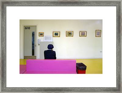 Pink Couch Framed Print by Jez C Self