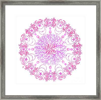 Pink Crab Mandala Framed Print by Stephanie Troxell