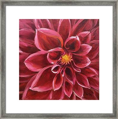 Framed Print featuring the painting Pink Dahlia by Pam Talley