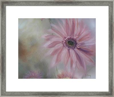 Framed Print featuring the painting Pink Daisies by Donna Tuten