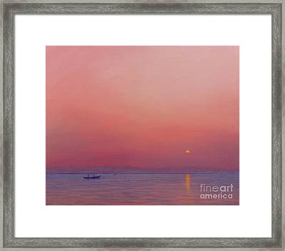 Pink Dawn On The Ganges Framed Print
