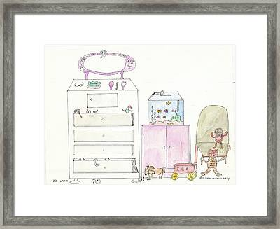 Pink Dolly Bedroom Framed Print