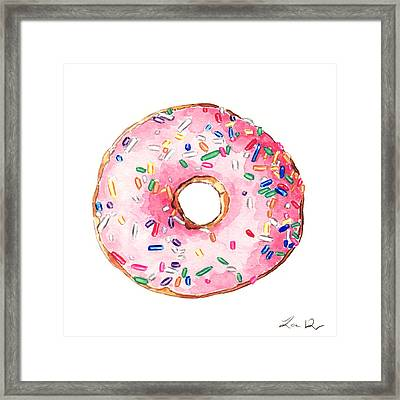 Pink Donut With Sprinkles Framed Print by Laura Row