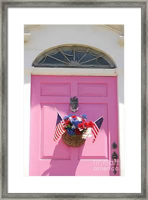 Pink Door Framed Print by Susan  Lipschutz