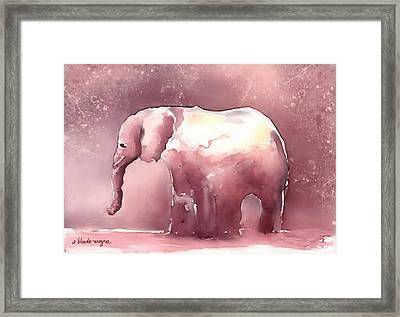 Pink Elephant Framed Print by Arline Wagner