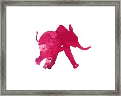 Pink Elephant Silhouette Watercolor Art Print Framed Print