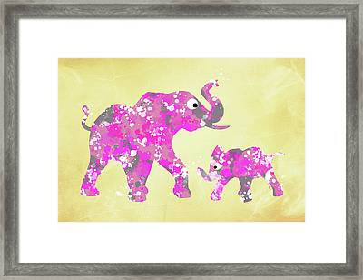 Pink Elephants Framed Print