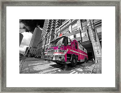 Pink Fire Truck  Framed Print by Rob Hawkins