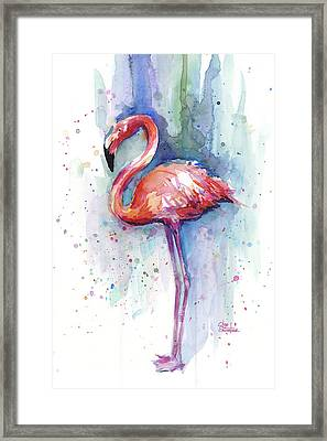 Pink Flamingo Watercolor Framed Print