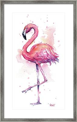 Pink Flamingo Watercolor Tropical Bird Framed Print