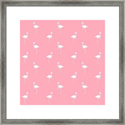Pink Flamingos Pattern Framed Print