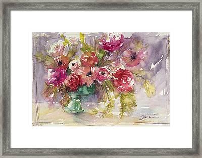 Pink Floral Impressions Framed Print