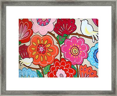 Pink Flowers And White Birds Framed Print