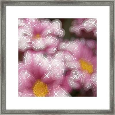 Pink Flowers Glowing Framed Print by Miroslav Nemecek