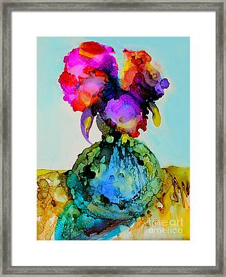 Framed Print featuring the painting Pink Flowers In A Vase by Priti Lathia