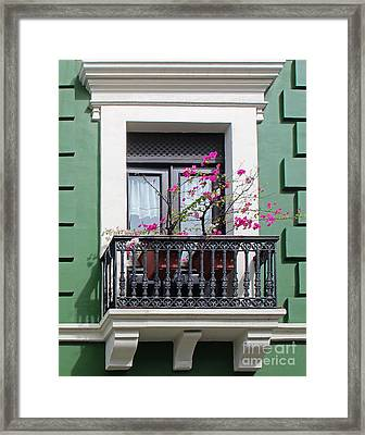 Pink Flowers On Balcony Framed Print